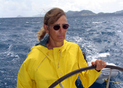 Author Kathy Brandt sailing in the Caribbean
