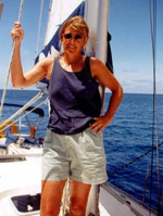 Kathy Brandt on sailboat in the Caribbean