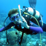 Kathy Brandt scuba diving in the British Virgin Islands